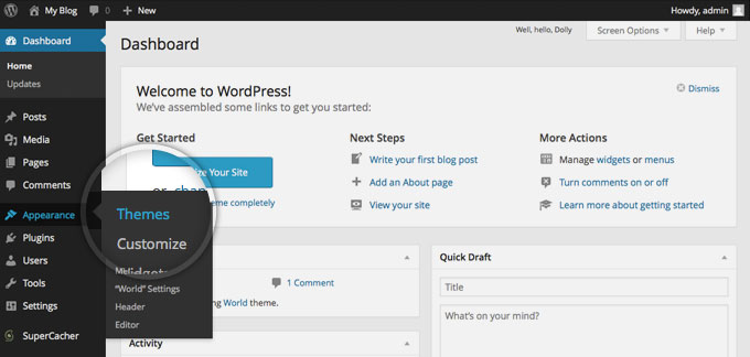 uploading wordpress theme to a blog