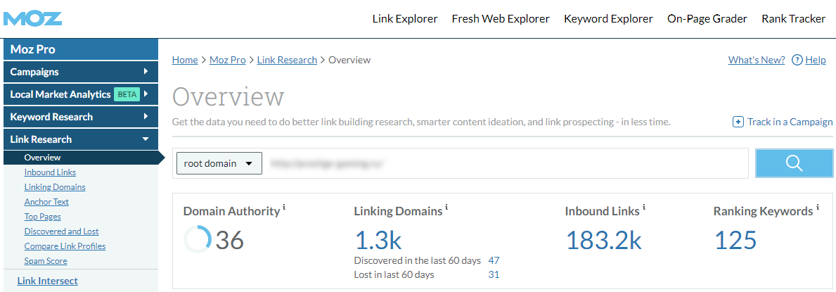 SAPE Links Moz Metrics